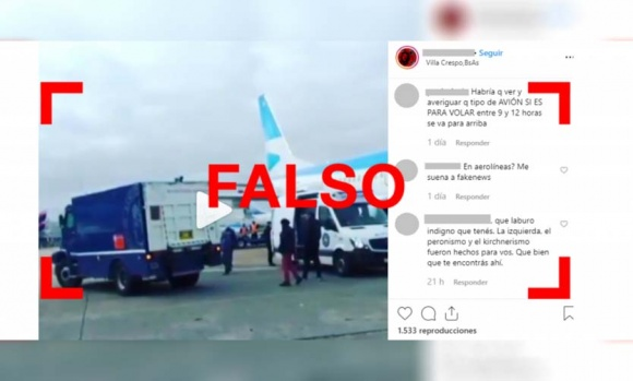 """Es falso que el Banco Central transportó en un avión """"8 mil kilos de guita"""" hacia un lugar desconocido"""